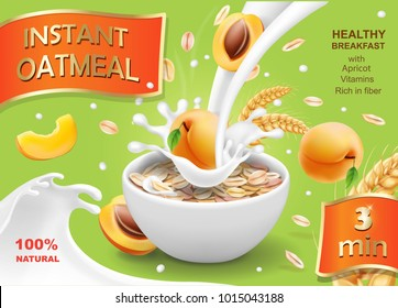 Instant oatmeals Oat flakes with apricot advertising design. Milk flow and yogurt bowl