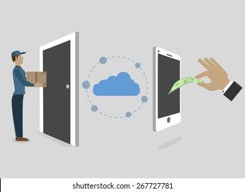Instant Online Shopping Via Cell Phone. Vector Illustration.