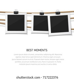 Instant photo collection. Enjoy every moment. Vector photo hanged on rope.