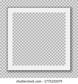 Instant Photo Frame. Classic White Style Film on a Transparent Background. Retro, Vintage, Old  Picture. Portrait Photography Album. Easy to Use. Separate Groups and Layers. Editable Vector Illustrati