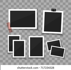 Instant photo frame collection. Vector photo sticked with paper tape and hanged with paper clip.