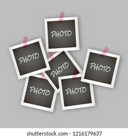 Instant square photo frame collage with realistic design Polaroid frame