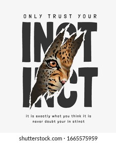 instinct slogan ripped off with leopard face illustration