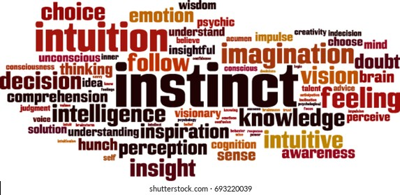 Instinct word cloud concept. Vector illustration