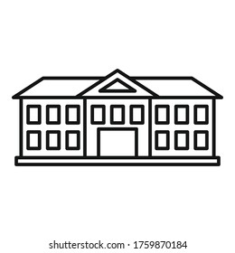 Institute building icon. Outline institute building vector icon for web design isolated on white background