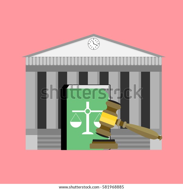 Institute of court and law. Legislation punishment, mallet and book. Vector illustration