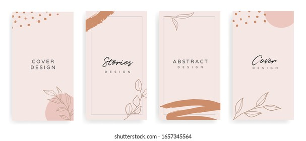 instragram stories and Main Feed cover.  Background template with copy space for text and images, Tropical line arts , floral and leaves in warm earth tone vector illustration.