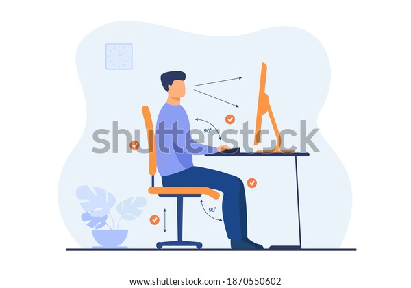 Instruction for correct pose during office work flat vector illustration. Cartoon worker sitting at desk with right posture for healthy back and looking at computer. Health and ergonomics concept