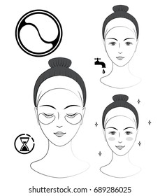Instruction: How to apply cosmetic patches under the eyes. Skincare. Black and white vector illustration.