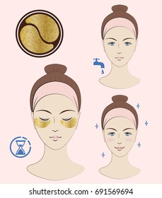 Instruction: How to apply cosmetic patches under the eyes. Golden patches. Skincare. Vector isolated illustration.