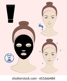 Instruction: How to apply facial mask. Skincare. Vector isolated illustration.