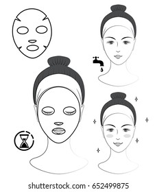 Instruction: How to apply facial sheet mask. Skincare. Vector isolated black and white illustration. Line art.