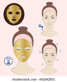 Instruction: How to apply facial sheet mask. Golden mask. Skincare. Vector isolated illustration