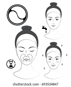 Instruction: How to apply nasolabial cosmetic patches. Skincare. Black and white vector illustration.