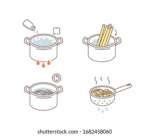 Instruction How to Prepare and Cook Pasta. Cooking Direction for Spaghetti. Place Noodle in Pot with Bowling Water, Salt, Remove from Heat and Use Colander. Flat Vector Illustration and Icons set.