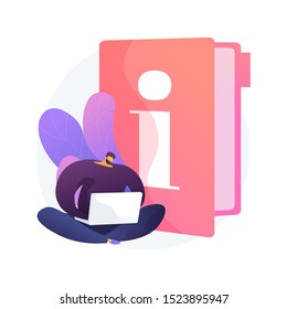Instruction manual. Smart man with laptop studying handbook, reading guidebook cartoon character. Use terms, tutorial guide, digital documentation. Vector isolated concept metaphor illustration