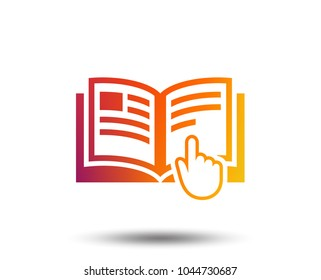 Instruction sign icon. Manual book symbol. Read before use. Blurred gradient design element. Vivid graphic flat icon. Vector