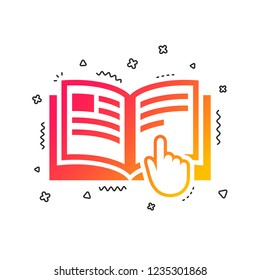 Instruction sign icon. Manual book symbol. Read before use. Colorful geometric shapes. Gradient instruction icon design.  Vector
