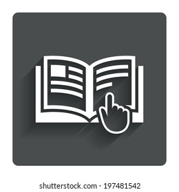Instruction sign icon. Manual book symbol. Read before use. Gray flat button with shadow. Modern UI website navigation. Vector