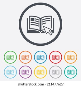 Instruction sign icon. Manual book symbol. Read before use. Round circle buttons with frame. Vector