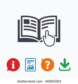 Instruction sign icon. Manual book symbol. Read before use. Information think bubble, question mark, download and report.