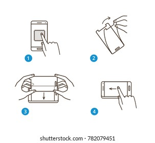 Instruction for smartphone screen protection. Line style vector illustration isolated on white background.