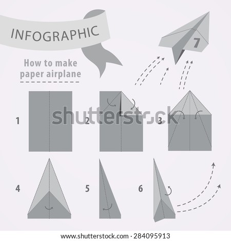 Instructions How Make Airplane Gray Scale Stock Vector