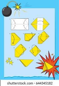 Instructions how to make origami slapstick vector.Step by step instructions how to make origami slapstick
