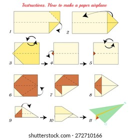 Instructions how to make paper Airplane. Paper plane tutorial step by step. Vector airplane. Educational game for kids. Visual game. Airplane Paper plane on isolated background. Colorful airplane