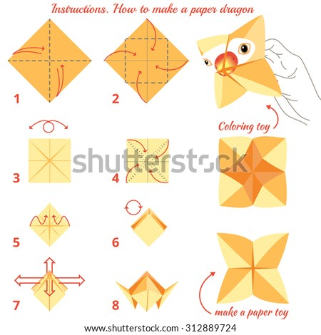 Instructions how to make paper bird. Origami tutorial step by.