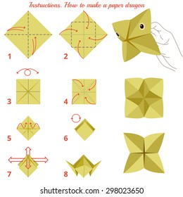 Instructions how to make paper dragon. Animal tutorial step by step. Vector dragon. Educational game for kids. Visual game. Paper Animal on isolated background