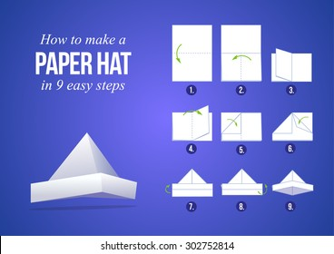 Instructions how to make a paper hat in 9 steps with purple background, DIY (do it yourself)