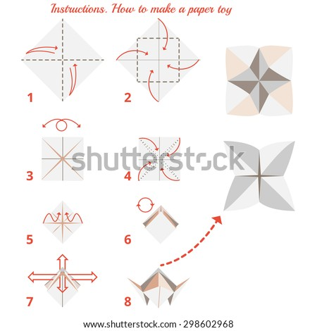Instructions How Make Paper Origami Toy Stock Vector Royalty Free