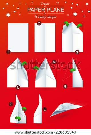 Instructions how to make a origami paper plane in 8 easy steps.