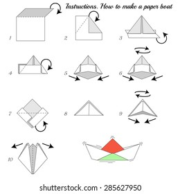 Instructions how to make paper ship. Paper ship tutorial step by step. Vector boat. Educational game for kids. Visual game. Paper Ship on isolated background