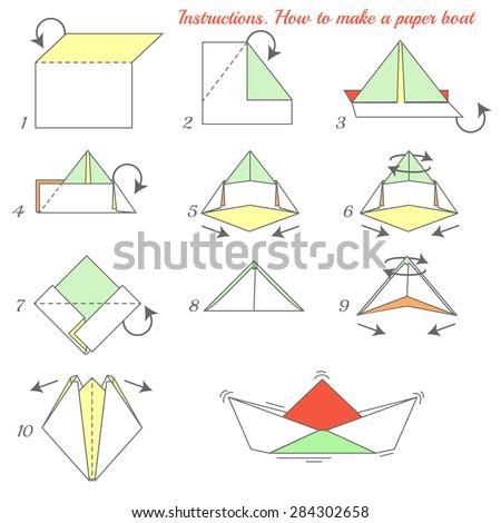 Instructions How Make Paper Ship Paper Stock Vektorgrafik