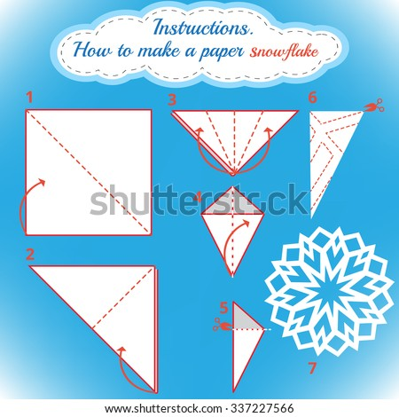 Instructions How Make Paper Snowflake Tutorial Stock Vector Royalty Enchanting Paper Snowflake Pattern