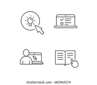 Instructions, Idea and Online education line icons. Student, Light bulb and Internet Lectures signs. Hand cursor or pointer. Quality design elements. Editable stroke. Vector