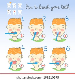 Instructions on how to brush your teeth for kids with boy with toothbrush and cartoon teeth. Easy learn how to brush teeth for children. Vector illustration