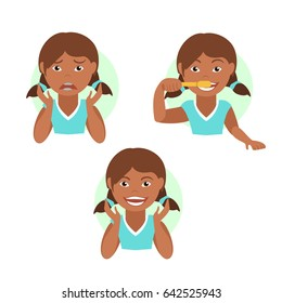 Instructions on how to brush your teeth for kids. Easy learn how to brush teeth for children. Vector illustration.