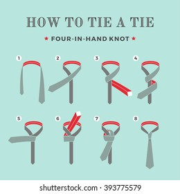 Instructions on how to tie a tie on the turquoise background of the eight steps. Four in Hand knot . Vector Illustration.