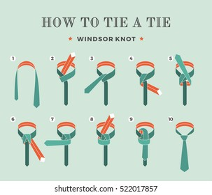 Instructions on how to tie a tie on the turquoise background of the eight steps. Windsor knot . Vector Illustration.