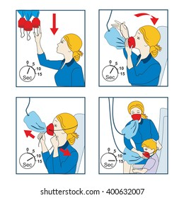 Instructions for using an oxygen mask on the plane. Vector illustration