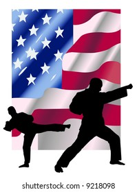 Instructor Keith doing karate in front of American flag
