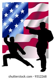 Instructor Keith practicing karate in front of American flag