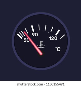 Instrument dashboard panel, temperature indicator of car, vehicle, machine, scale chrome-plated neon board. Measuring car temperature, technological digital sensor with arrows. Vector illustration.