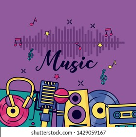 instrument equipment music colorful background vector illustration
