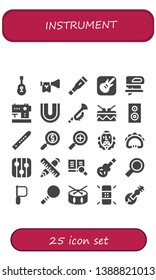 instrument icon set. 25 filled instrument icons.  Simple modern icons about  - Guitar, Trumpet, Thermometer, Garage band, Fretsaw, Sewing machine, Dental, Drum, Subwoofer, Flute