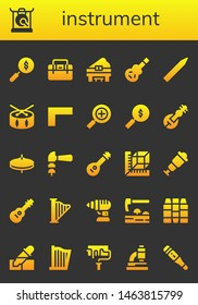 instrument icon set. 26 filled instrument icons.  Simple modern icons about  - Search, Gong, Toolbox, Piano, Electric guitar, Pencil, Drum, Ruler, Veena, Cymbals, Hammer, Mandolin