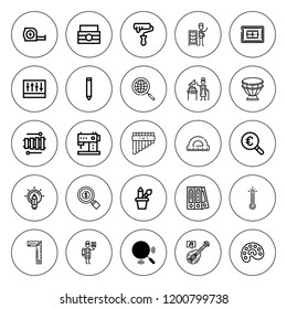 Instrument icon set. collection of 25 outline instrument icons with blinder, cutting, detective, drum, flute, magnifying glass, gramophone icons. editable icons.